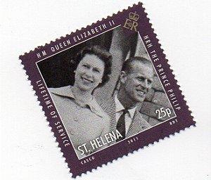 2011 Santa Helena (Ilh Britânica) selo 25p Príncipe Felipe e Rainha Elizabeth II