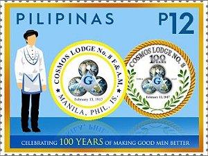 2017 Filipina - 100 Anos da Loja Maçônica Cosmos (selo mint)