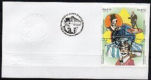 1998 FDC (olho-de-boi) Homenagem ao Circo Brasileiro - Palhaço Carequinha, maçom George Savalla