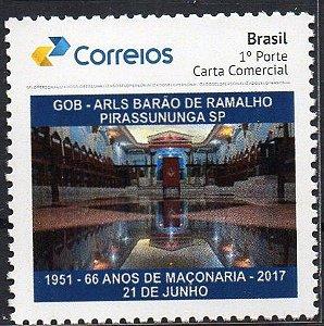 2017 Maçonaria - 66 anos da Loja Barão de Ramalho selo personalizado - interior do Templo