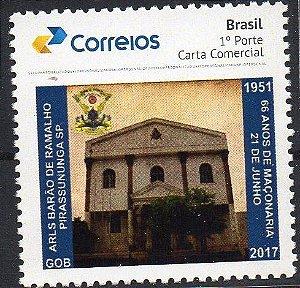 2017 Maçonaria - 66 anos da Loja Barão de Ramalho selo personalizado fachada