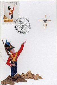 2017 Cartão Postal selado e cbc 1º dia - Natal Soldadinho de Chumbo - artesanato com tecido e palha
