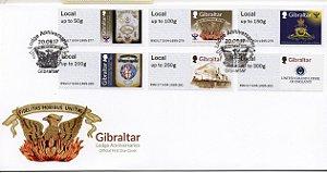 2017 Gibraltar  FDC Lojas Maçônicas aniversariantes Série de selos autoadesivos