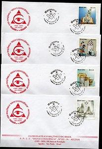 2004 Maçonaria - conjunto de 4 FDCs (não Oficiais) envelope Loja Maçônica Agudos