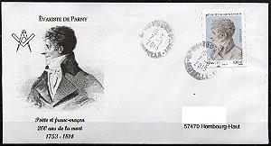 2005 Évariste de Parny maçom, envelope circulado dentro da Framça