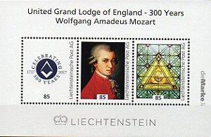 2017 Liechtenstein 300 anos da Grande Loja Unida da Inglaterra - Mozart bloco (pers) autoadesivo