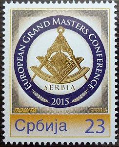 2015 Sérvia -  Conferência Européia de Grão-Mestres - raro selo personalizado