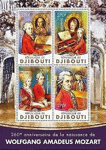 2016 República do Djibuti - Mozart  260 anos - bloco de 4 selos mint