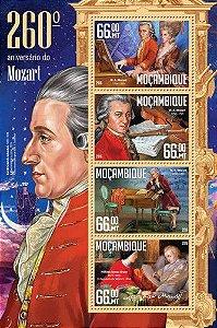 2016 Moçambique - Mozart  260 anos - bloco de 4 selos mint