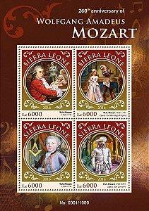 2016 Serra Leoa - Mozart  260 anos - bloco de 4 selos mint