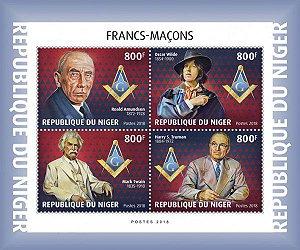 2019 Níger - Maçons: Roald Amundsen, Oscar Wilde, Mark Twain e H. S. Truman