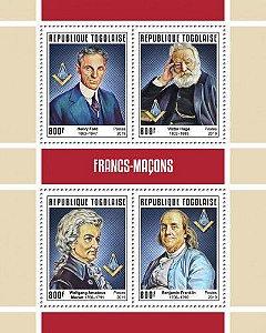 2019 República do Togo - Franco-Maçons: Henry Ford, Victor Hugo, Mozart e Benjamin Franklin