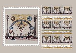 2018 Ucrânia folha de 9 selos personalizada com simbologia maçônica