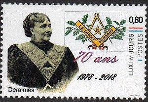2018 Luxemburgo 70 anos da Ordem Mista Maçônica Direitos Humanos - selo personalizado
