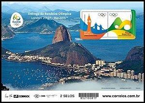 2012/2015 Entrega da Bandeira Olímpica Mini-folha (mint) Olympic flag Delivery Block