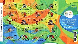 2015 Série Modalidades Jogos Olímpicos e Paralímpicos Rio 2016 - Folha (mint)