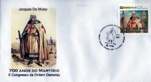 2014 Envelope Personalizado 700 anos do Martírio de Jacques De Molay - X Congresso DeMolay