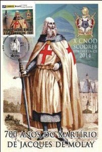 2014 Maximo Postal Personalizado 700 anos do Martírio de Jacques De Molay - X Congresso DeMolay