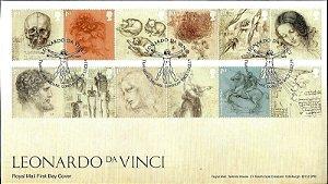 2019 Inglaterra -  Leonardo Da Vinci FDC Oficial (Excelentes Obliterações)