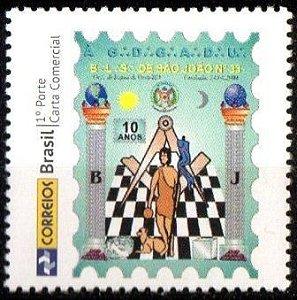 2014 Selo Personalizado 10 anos da Loja Maçônica de São João n 33 - Rondônia