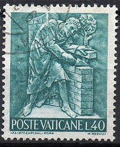 1966 Vaticano - Trabalho e arte: Pedreiro, artesão, arquiteto, entre outros - série completa 12 selos (usado - escasso)
