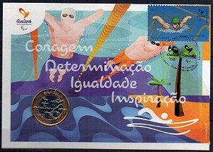 2016 Rio 2016 - Máximo Postal Numismático com Moeda Paralimpica - Modalidade Natação - peça exclusiva