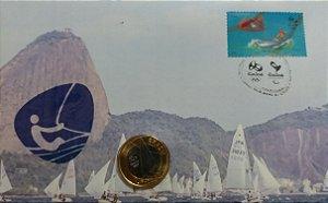 2016 Rio Jogos Olímpicos  - Vela - FDC - Numismático com moeda FC