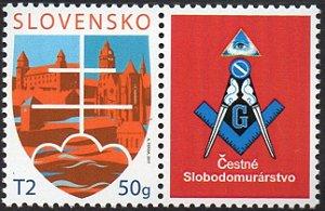 2017 Eslováquia - Homenagem à Maçonaria - vinheta - símbolos nacionais - personalozado