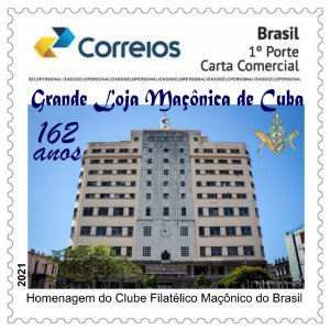 2021 Grande Loja Maçônica de Cuba 162 anos de fundação - selo personalizado