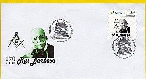 2019 Rui Barbosa 170 anos - envelope novo com personalizado e carimbo comemorativo