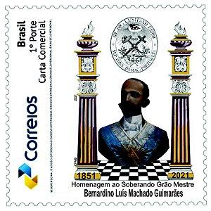 2021 Bernardino Guimarães - Grão Mestre Grande Oriente de Portugal entre colunas SP