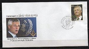 2014 - FDC (não oficial) Homenagem ao Diplomata e Maçom Sérigio Vieira de Melo