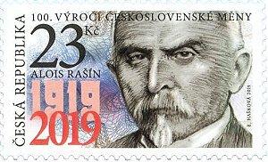 2019 - República Tcheca - Alois Rasin, maçom e ministro das finanças - 100 anos da moeda (mint)