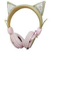 Headphone Com Fio Orelha Gato Com Glitter P2 Zat-251