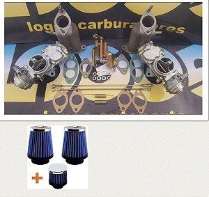 Kit Carburadores Fusca H32 Gasolina + Par de Filtros Esportivos com Respiro de Óleo
