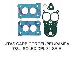 Juntas Carburador Corcel/Belina/Pampa - Solex Duplo H-34 SEIE