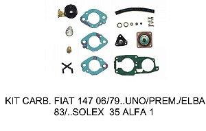 Kit Carburador Fiat 147 06/79 - Uno/Prêmio/Elba 83/88 Solex 35 Alfa 1