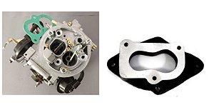 Carburador 2e Gasolina Ap Brosol + Flange Adaptadora Alumínio (2e / Mini Progressivo)