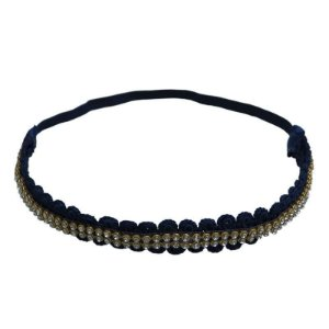 Headband com strass e renda