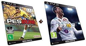 Pes 2018 + Fifa 18 PS3 Game Mídia Digital PSN Original