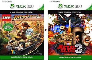 Lego Indiana Jones 2 + Metal Slug 3 Xbox 360 Game Mídia Digital Original