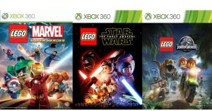Lego Marvel Star wars & Jurassic World Collections Games Xbox 360