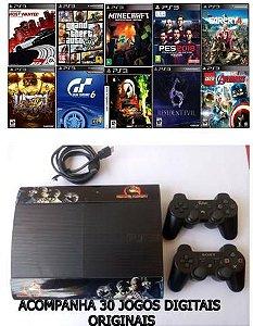 Playstation 3 Super Slim 250GB Último Modelo - 2 Controles + 30 Jogos Originais