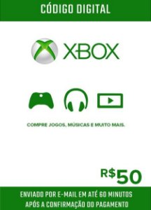 Cartão Presente Microsoft Gift Card Xbox R$50
