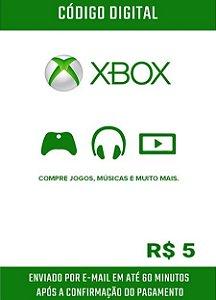 Cartão Presente Microsoft Gift Card Xbox R$5