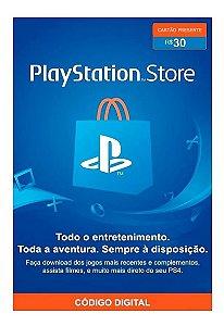 Cartão Presente PSN Playstation Store Gift Card R$30