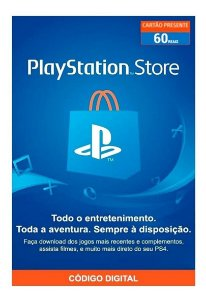 Cartão Presente PSN Playstation Store Gift Card R$60