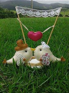Topo de bolo casamento Pássaros com varal