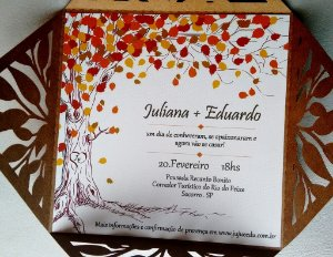 Convite casamento vintage Folhagem