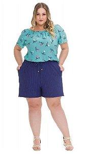 Blusa Feminina Plus Size Ciganinha Crepe Ligth
